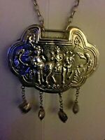 ANTIQUE SILVER CHINESE MEDALLION TWO ANCIENT FIGURES ON LION, 2 LONG NECK BIRDS