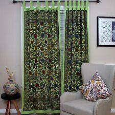 Handmade Cotton Sunflower Floral Tab Top Curtain Drape Door Panel Green 44x88