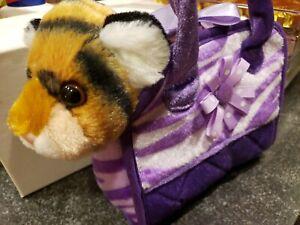 Aurora FANCY PALS The Original Toy Pet Carrier Plush Purple  Purse With TOY...