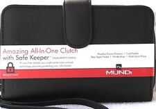 WALLET Mundi Women ALL IN ONE Faux Leather Cards Ladies RFID Clutch Black I905X