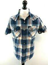HOLLISTER Mens Shirt Short Sleeve M Medium Blue White Red Yellow Check Cotton
