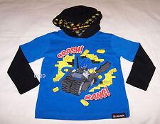 Lego Batman Boys Blue Black Long Sleeve Hooded T Shirt Size 6 New