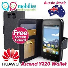 Huawei Ascend Y320 Black PU Leather Wallet TPU In Case Cover + Screen Protector