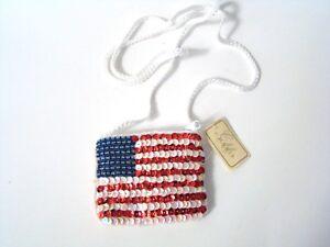 USA Flag Purse Small Sequin Zipper and Lined Handbag Coin Purse NEW