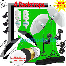 Photo Studio Continuou Lighting Kit Umbrella Backdrop Background Light Stand Set