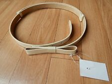 From David's Bridal Faux Patent Leather Bow Ivory Belt Size Small Medium NWT