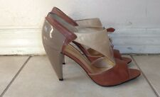 POUR La VICTOIRE GRAY BROWN CREAM ZIPPER FRONT DETAIL CHUNKY HEEL PUMPS Sz 9.5M