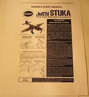 Cox Ju87d Stuka Owner's Flight Manual #6441 Photocopy for .049 Gas Powered Plane