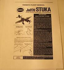 Cox Ju87d Stuka Owner's Flight Manual #6441 Photocopy for .049 Gas Powered Plane