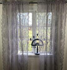 Vorhang LUCIA GRAU Spitzen Gardine Rosen 2 Stück 120x240 Shabby Vintage Landhaus