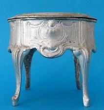 SUPERBE ANCIENNE BOITE A BIJOUX EN REGULE ARGENTE COUSSIN EN SOIE JEWELLERY BOX