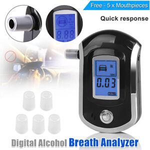 UK Police Digital Breath Alcohol Analyzer Tester LCD Breathalyzer Test Detector