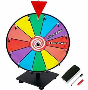 12 Inch Heavy Duty Prize Wheel, 12 Slot Tabletop Color Spinning Wheel with 2