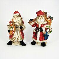 Ceramic Santa Claus Figurines St Nick Christmas Décor Holiday Decoration Set 2