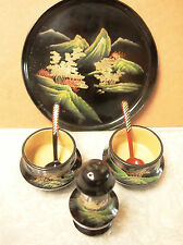 Beautiful Oriental Set of 4 -Two Salt Cellars w/spoons, Pepper Shakers and Tray