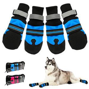 4pcs Reflective Dog Non-slip Shoes Winter Warm Waterproof Booties Pet Soft Socks