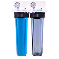 """20""""x4.5"""" Big Blue Two Stage Clear Whole House Water Filter System, 3/4"""" ports"""