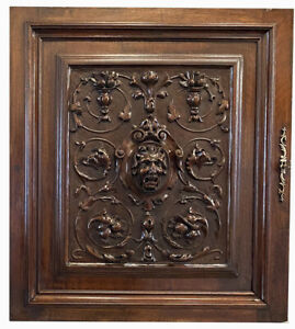 """Antique French Carved Cabinet Door, NeoClassical Figural, 26"""" for Bar or Wall"""