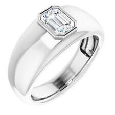 2 Ct Emerald Cut Off White Diamond Men's Ring In White Gold Finish, Great Shine