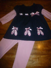 FREE P&P RARE EDITIONS BALLET SHOES TUNIC AND LEGGINGS SET 18/24 MONTHS