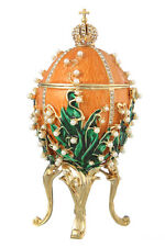 Faberge Egg Trinket Box / Music Box Russian Emperor Crown & Flowers 6.3'' orange