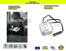 Tavolino per auto con Inverter 12V 220V Invertitore Organizer Pc Tablet Smartpho