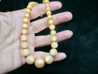 Vintage-1950's Thermoplastic Graduated Lucite Bead Peach Necklace