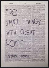 VINTAGE Madre onorevole Theresa Amore Preventivo dizionario pagina WALL ART PICTURE PRINT REGALO
