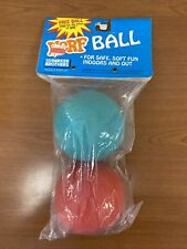 NOS Vintage 1989 Nerf Ball 2 Pack, Original Packaging, Green + Red