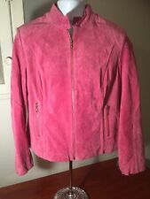 women's WILSONS leather MAXIMA pink suede jacket size L