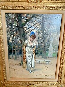 Original Antique French Oil Painting Adrien Moreau Victorian Lady Gilt France