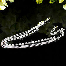 Silver Ankle Bracelet Diamante Rhinestone Anklet Foot Jewelry Adjustable Chain
