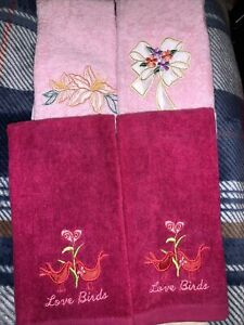 Lot Of 4 New Embroidered Hand Fingertip Towel. Flowers & Love Birds