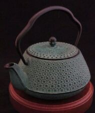 Vintage M.C.I. Cast Iron Tea Kettle Green Turquoise Signed Made in Japan