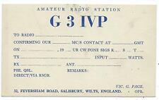 WILTSHIRE - SALISBURY QSL Radio Transmission Confirmation Postcard G3IVP