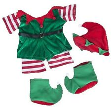 "CHRISTMAS GREEN & RED ELF OUTFIT FOR 16""/40cm TEDDY BEARS & BUILD YOUR OWN BEARS"