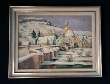 Harburg Vista villaggio Paesaggio invernale. Orig. vecchio Dipinti a olio