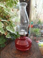 Antique Cranberry Glass Oil Lamp Queen Anne Burner Working Order