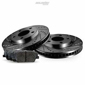 Fit Mercedes-Benz CLK500, CLK550 Rear Black Drill Slot Brake Rotors+Ceramic Pads