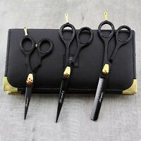 "Hairdressing Set Thinning Scissors & Shears 6 5"" Professional Barber Leather kit"