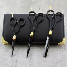 "Best Hairdressing Thinning Shears 6"" & 5"" Scissors Black Kit In Leather Pouch"