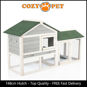 Rabbit Hutch 148cm by Cozy Pet Grey Guinea Pig Hutches Run Rabbit Ferret Runs