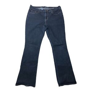 Old Navy Sz 14 Regular Curvy Mid Rise Dark Womens Blue Jeans Distressed Hem