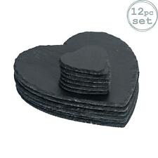 Heart Slate Placemats x6 and Coasters x6 Set Padded Feet Dining Wedding Placemat