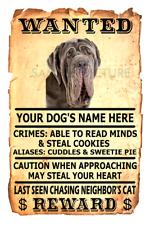 Neapolitan Mastiff Dog Wanted Poster Flex Fridge Magnet Personalized Name