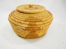 "VIntage Papago hand woven lidded basket 9.5"" Diameter"