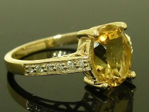 R169 Genuine 9ct Solid Yellow Gold NATURAL Citrine & Diamond Solitaire Ring sz O