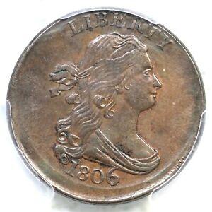1806 C-4 PCGS AU 58 Lg 6, Stems Broadstruck Draped Bust Half Cent Coin 1/2c