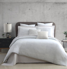 Halston RENA King Comforter Set 3-Pieces Grey White 100% Cotton NEW