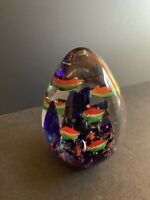 Murano Art Glass Egg-Aquarium Tropical Fish Paperweight/Art Sculpture